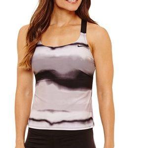Nike Tankini Swim Top Black Gray  Medium NWT